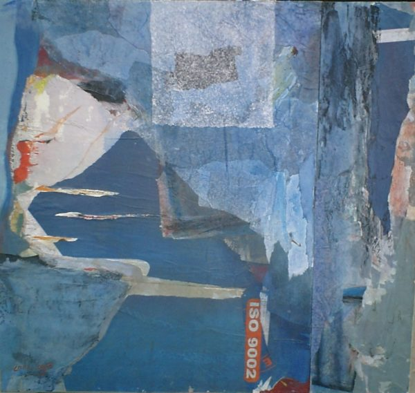 Iso 9002<br>Collage et acrylique sur toile<br>110 x 100 cm, Tunis, 2003