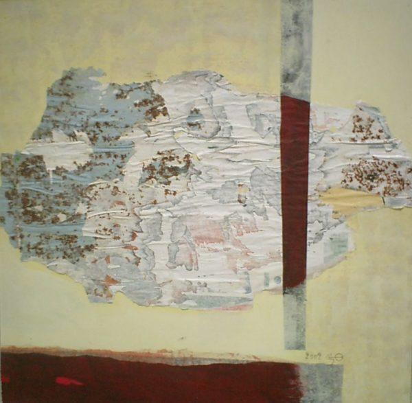 Emergence<br>Technique mixte sur toile<br> 110 x 110 cm, Tunis, 2002