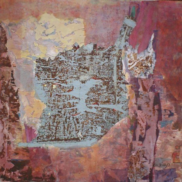 Stratification<br> Technique mixte<br> 125 x 125 cm, Tunis, 2003