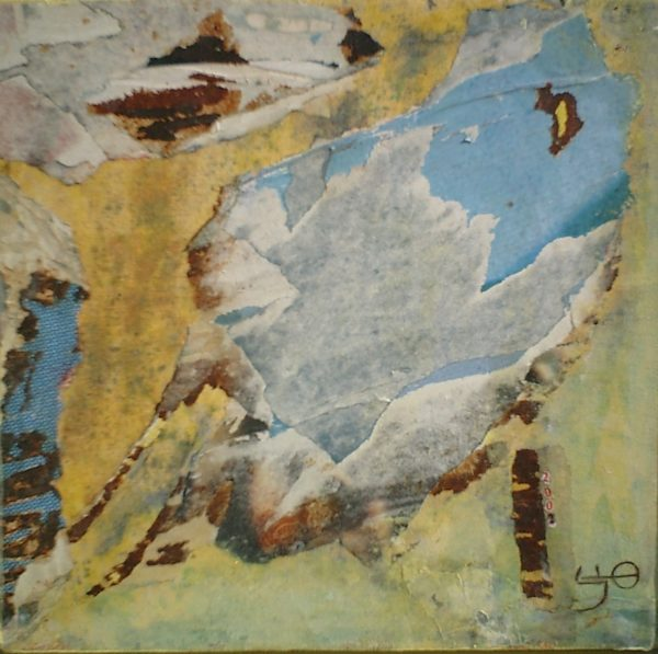 Regard<br>Collage et acrylique sur bois<br>30 x 30 cm, Tunis, 2002