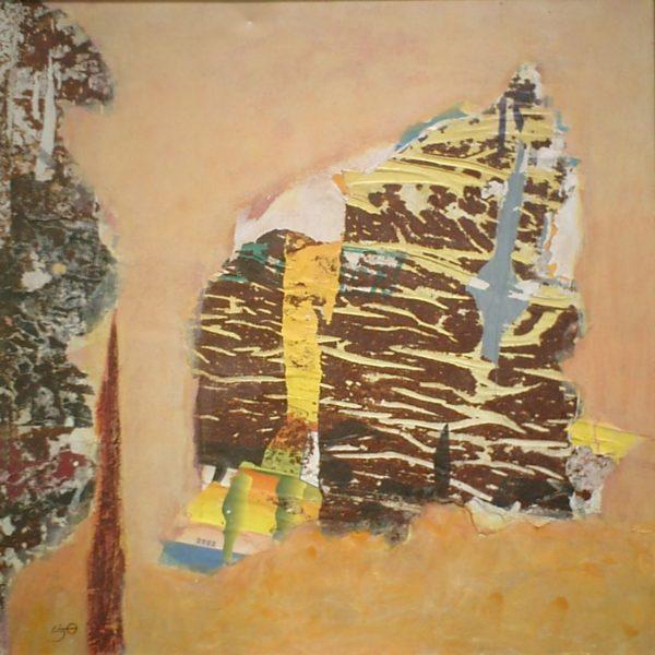 Stratification, Technique mixte, 125 x 125 cm, Tunis, 2003