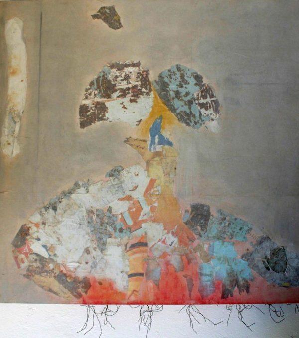 Censure<br> Collage sur toile, 130x130cm<br> Tunis, 2006